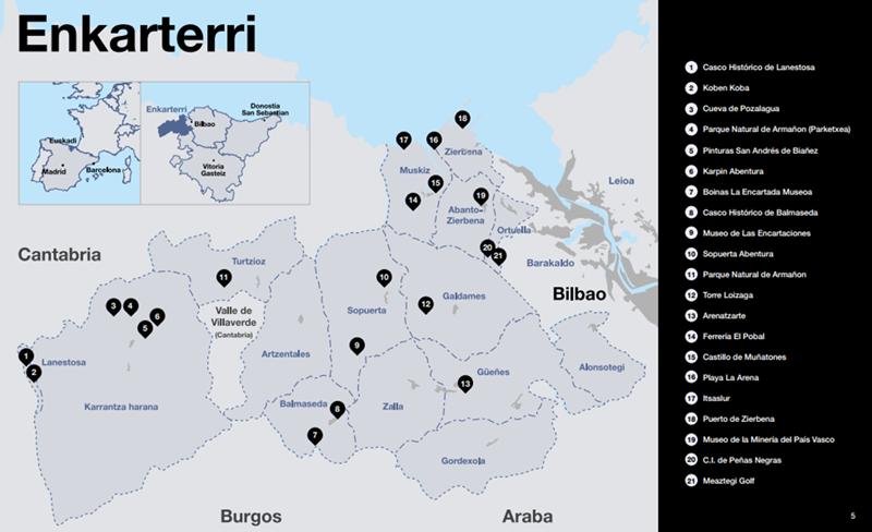 Mapa de la region de Enkarterrialde - Bizkaia