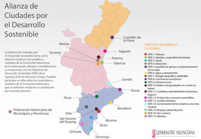 Mapa de integrantes de la Alianza de Ciudades por el Desarrollo Sostenible de la Comunidad Valenciana, que se han comprometido a promover mediante un convenio.