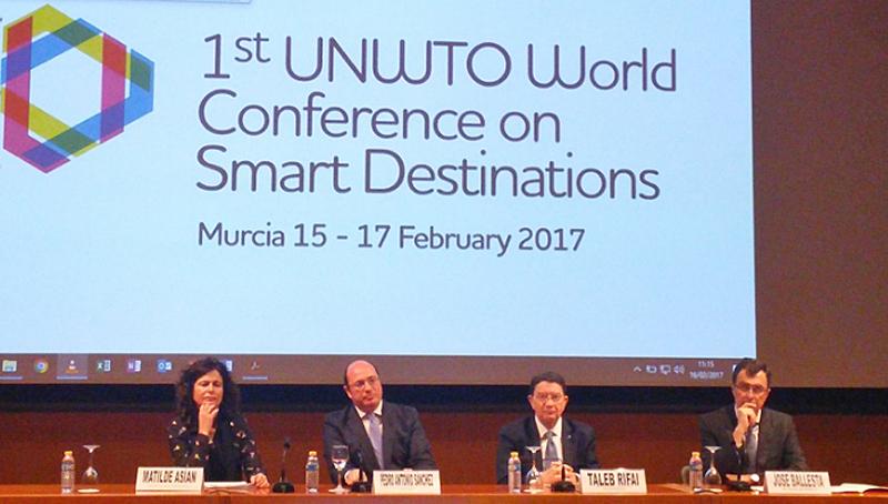 Apertura del I Congreso Mundial de Destinos Turísticos Inteligentes organizado por la Organización Mundial del Turismo en Murcia.