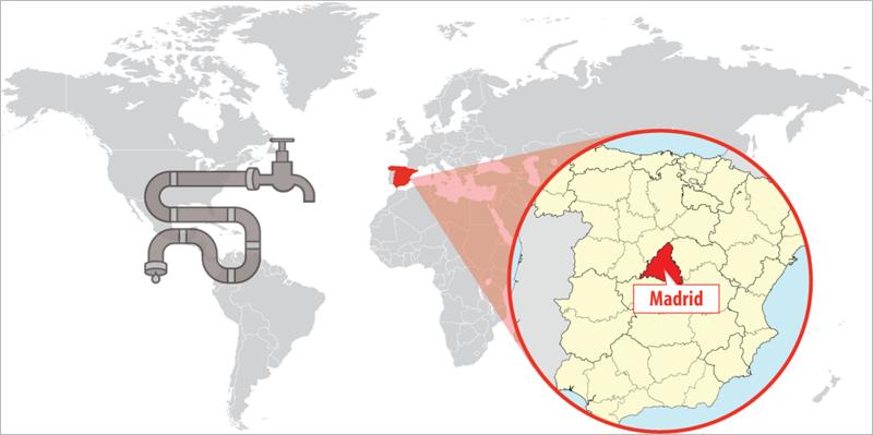 Mapa de situación de Madrid, donde se ha desarrollado el sistema de gestión inteligente del agua iWESLA.