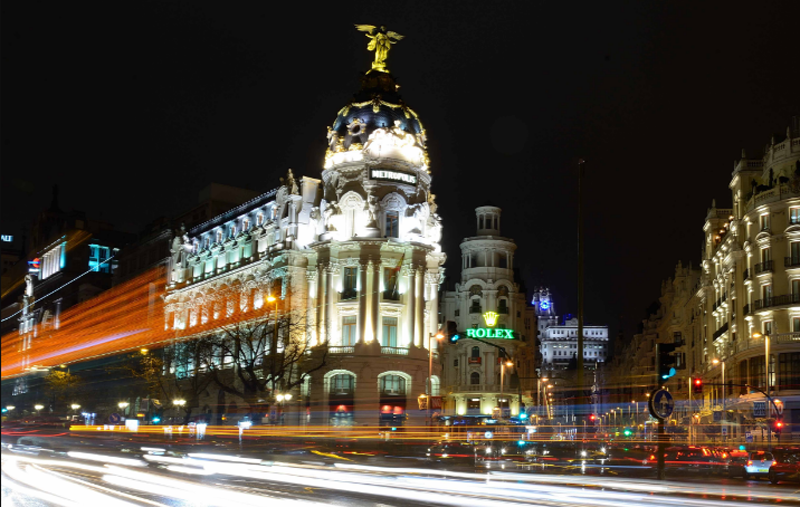 Alumbrado urbano del centro de Madrid. Gran Vía.