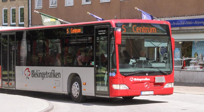 Uno de los autobuses de la ciudad sueca de Karlshamn, sobre los que se está desarrollando otro de los pilotos del proyecto SMART-FI.
