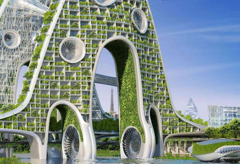 Energía hidráulica y eólica alimentan las torres del puente sobre el Sena, convirtiéndolas en edificios con una huella de carbono nula.