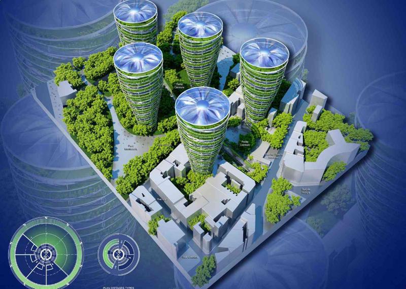 Vista aérea del proyecto, que incluye edificios que son capaces de reducir la contaminación del aire.