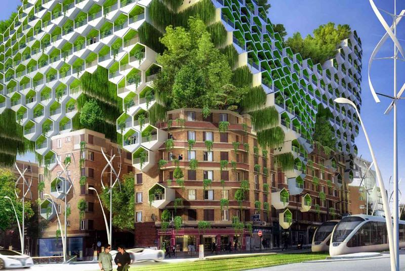 Módulos prefabricados en forma de colmena y autosuficientes energéticamente se añaden a los edificios de seis plantas del barrio de .