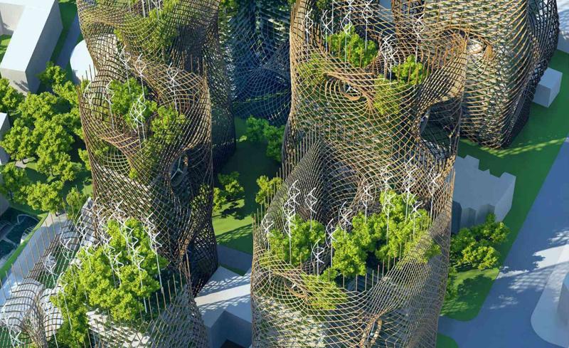 Las viviendas de estas torres están rodeadas de los huertos urbanos que los propios residentes se encargan de cultivar.