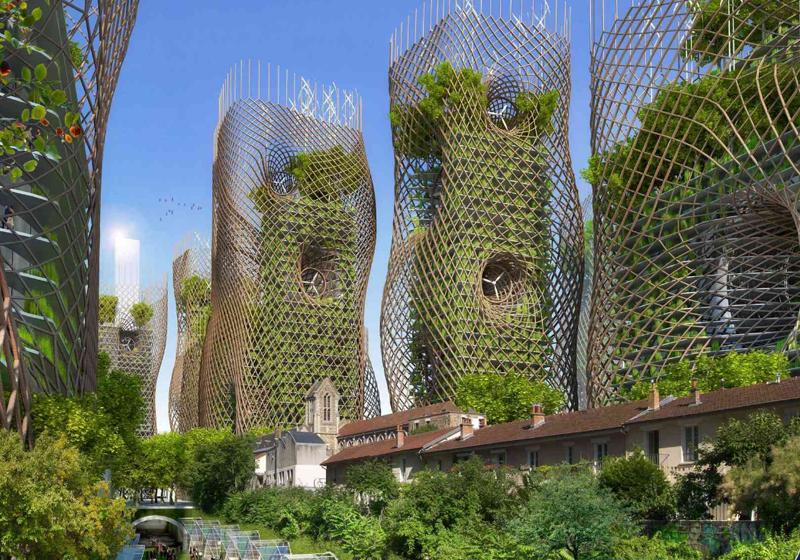 Las torres nido de bambú quieren devolver al centro de la ciudad la naturaleza.