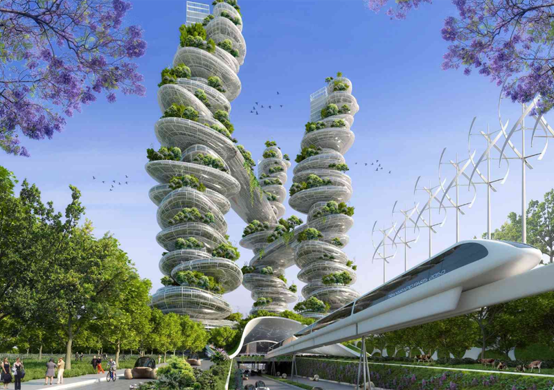 'Piedras vivas' es la idea que transmiten estas torres que unen terreno agrícola en vertical y viviendas.