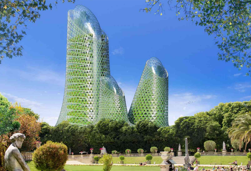 Los edificios tienen jardines verticales con microalgas verdes que se nutren de CO2.
