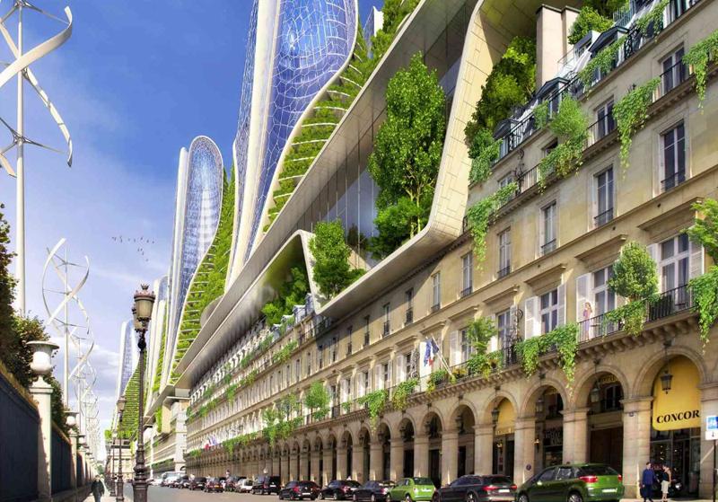 La elegante calle Rivoli, en el corazón de París, es objeto de una transformación a partir de edificios bioclimáticos que inundan de vegetación el centro de la ciudad.