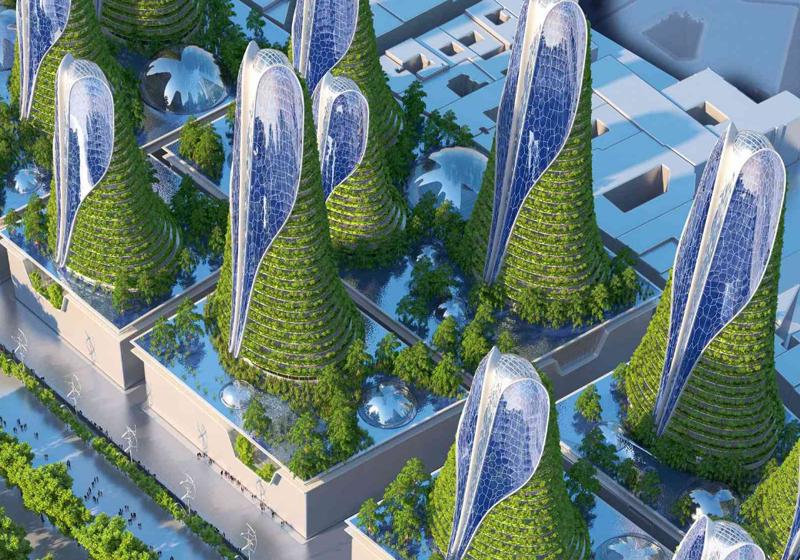 Las 'torres montaña' de Callebaut están pensadas para evitar las islas de calor urbanas y la gentrificación del centro de la ciudad.