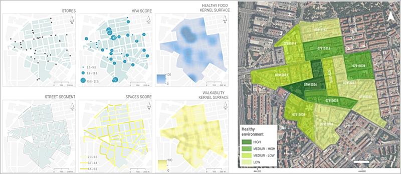 Figura 2. Proyecto Heart Healthy Hoods. Estudio Entorno Alimentación y Entorno Físico en un barrio medio de Madrid.