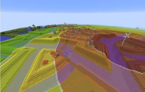 Figura 2. Contaminación acústica alrededor de una turbina eólica generada con un modelo geográfico, y presentado en tiempo real en un mundo Minecraft usando el entorno tecnológico de Geocraft. Moviendo la turbina eólica, se recalculan también los diferentes niveles de contaminación acústica.