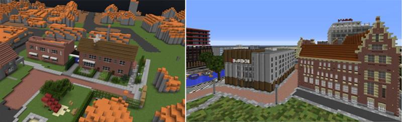 Figura 3. A la izquierda: antes y después, los edificios grises con el techo en naranja son generados automáticamente. Además vemos 3 edificios ya remodelados según la realidad. A la derecha podemos ver que en Minecraft podemos representar diferentes tipos de arquitectura de los edificios.