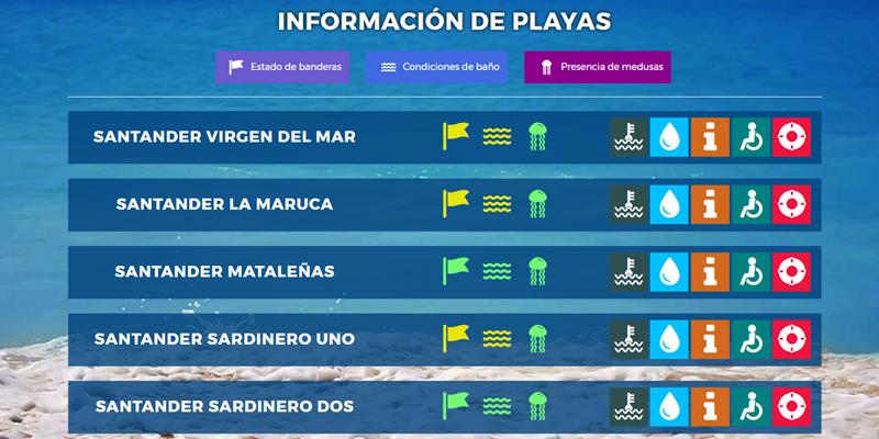 Aplicación web con información en tiempo real del estado de las playas de Santander, además se han lanzado códigos QR para consultar desde dispositivos móviles.