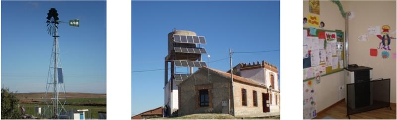 Figura 3. Aerobomba. Figura 4. Grupo de presión. Paneles solares. Figura 5. Estufa escuela.