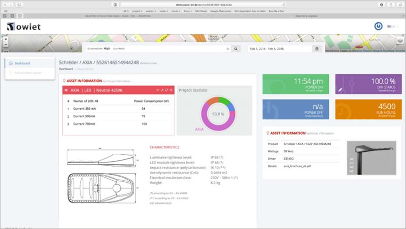 Interfaz de usuario para la gestión online de Owlet IoT donde se pueden seguir todos los datos relacionados con cada luminaria.