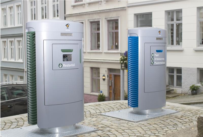 Figura 2. Buzones Inteligentes de Bergen para dos fracciones de residuos. Fuente: Ayuntamiento de Bergen.