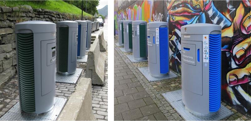 Figura 5. Buzones inteligentes del sistema de recogida neumática de residuos en dos lugares distintos de la ciudad de Bergen. Fuente: Ayuntamiento de Bergen.