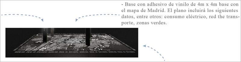 Además del plano de la ciudad, la base del diseño mostrará datos vinculados a la reducción de emisiones y al concepto cero energía del pabellón.
