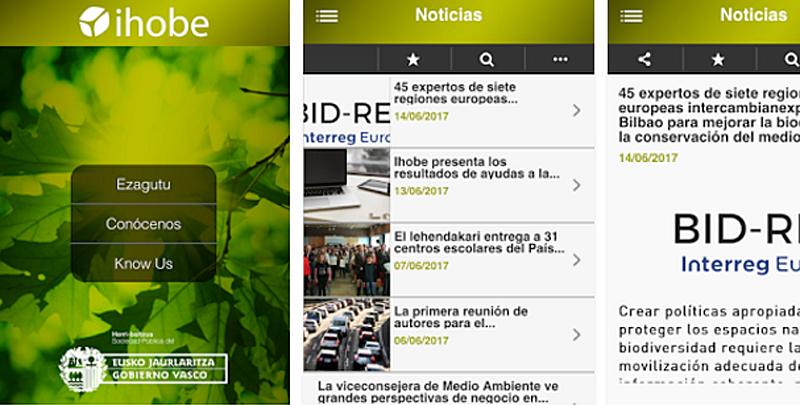 Pantallazos de la App desarrollada por Ihobe para acceder a la información medioambiental del País Vasco.