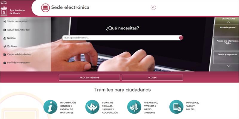 Los procedimientos de contratación podrán hacerse únicamente a través del portal de Administración Electrónica del Ayuntamiento de Murcia desde el 15 de septiembre, fecha en la que la ciudad elimina el papel en estos procesos.