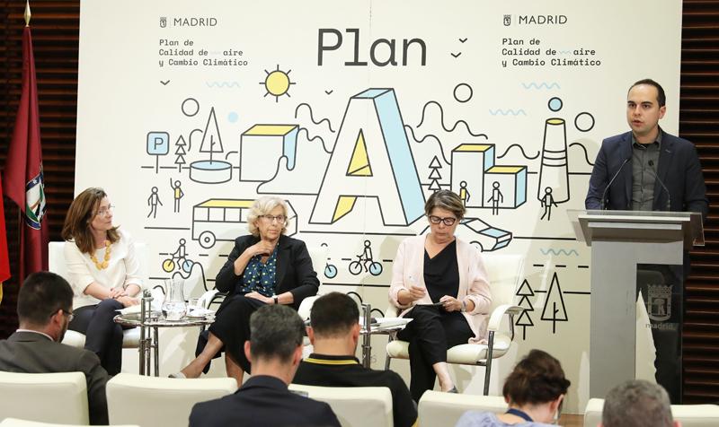 Presentación del Plan A de Calidad del Aire y Cambio Climático de Madrid, que fue aprobado definitivamente este jueves por la Junta de Gobierno municipal.