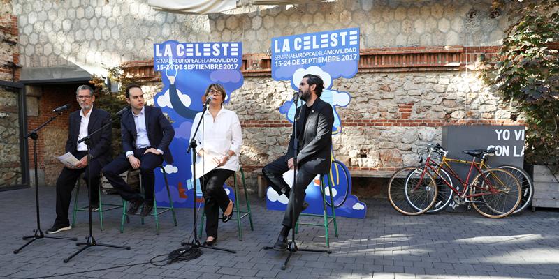 Presentación de La Celeste, programación de Madrid para la Semana Europea de la Movilidad que hará hincapié en el transporte compartido y la bicicleta.