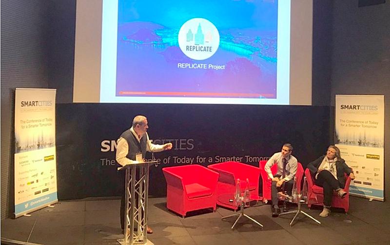 Ponencia de los representantes del Ayuntamiento de San Sebastián sobre el proyecto Replicate en la conferencia Smart Cities Live Londres.