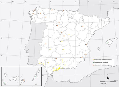 Figura 1. Plan Nacional de Ciudades Inteligentes. Ciudades beneficiarias - Fuente: Elaboración propia.