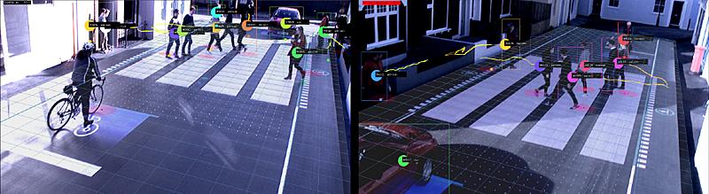 A través de un sistema de cámaras, el paso de peatones rastrea la ubicación y los movimientos de peatones, ciclistas y vehículos en tiempo real.