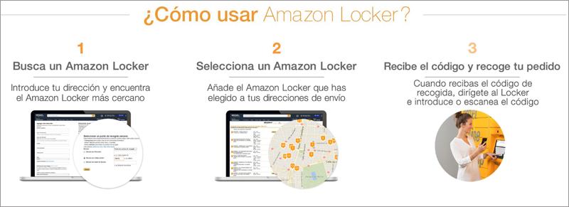 A través de la web de Amazon se puede seleccionar la taquilla más cercana en función de ubicación y horarios.