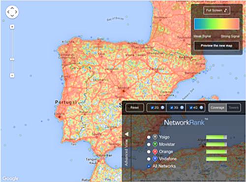 Figura 1. Cobertura móvil de datos en España (fuente Open Signal).