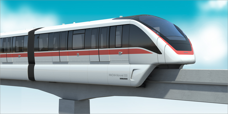 Tren monorraíl sin conductor que incorporará la ciudad china de Wuhu, uno de los sistemas de transporte automatizado de Bombardier, adjudicataria del concurso.