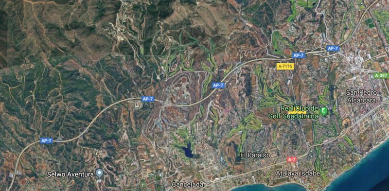 Parte del tramo de la autopista AP-7 en la Costa del Sol en la que se está desarrollando el piloto de autopistas inteligentes con técnicas Big Data.