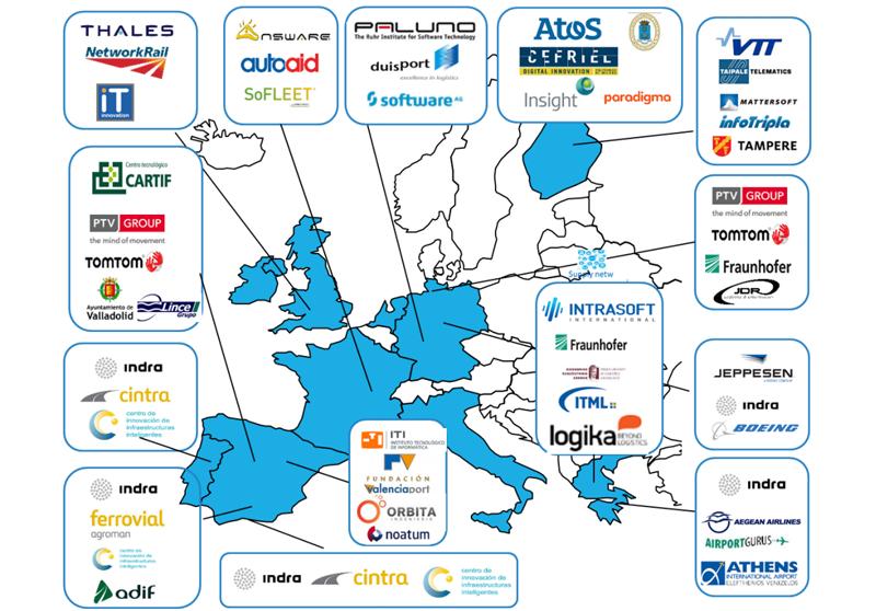 Grupos de trabajo y socios del consorcio de Transforming Transport, el proyecto europeo que quiere demostrar el impacto de la tecnología Big Data en los transportes y la logística.
