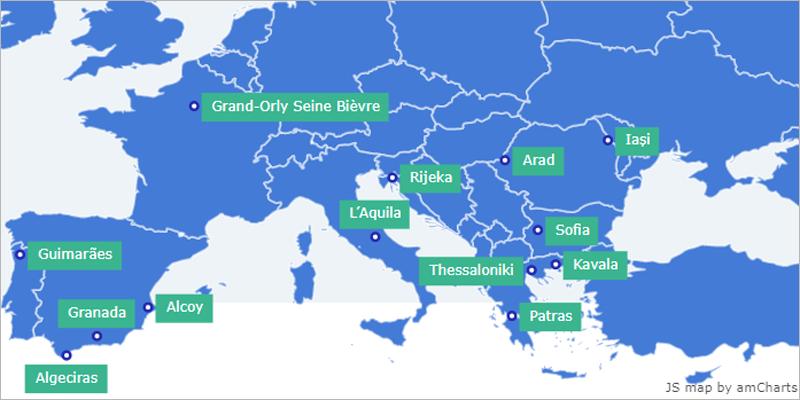 Alcoy es una de las 15 ciudades europeas que forman parte del mapa con algunas de las 15 ciudades seleccionadas en el programa europeo digital cities challenge gumiabroncs Choice Image