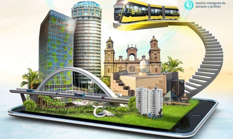 El trasporte público urbano, la gestión inteligente de parques y jardines y las relaciones con la ciudadanía, son otros aspectos del proyecto 'LPG Inteligencia Azul'. Infografía: Fernando Montenegro.