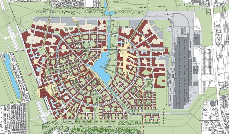 El plan maestro para Aspern se aprobó en 2007 y desarrolla la ciudad en torno a un lago central. Está previsto que todo el proyecto culmine en 2028.