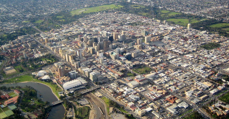 Vista aérea de Adelaide, Australia. Foto: Douglas Barber