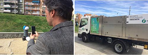 Usuario utilizando la aplicación fotografiando una papelera y foto de un camión de recogida de residuos. La aplicación MataróNeta permite a los ciudadanos avisar de incidencias sobre limpieza urbana y recogida de residuos a las autoridades, en tiempo real y adjuntando una imagen.