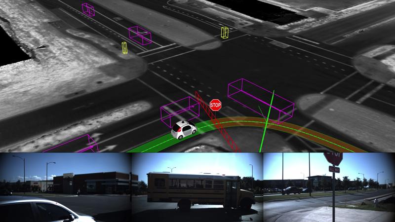 Campo de visión del coche sin conductor y detección de un autobús escolar en un cruce.