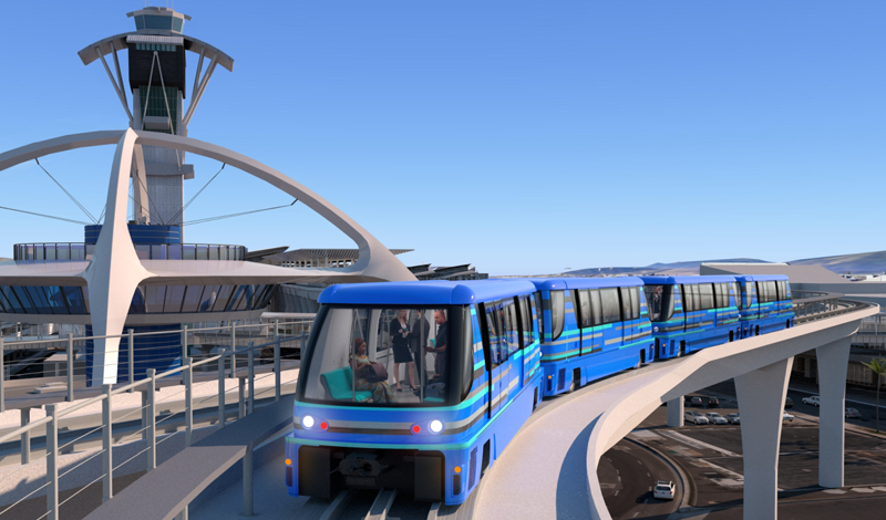 Recreación de uno de los trenes sin conductor de los que dispondrá el sistema automatizado de transporte de pasajeros del aeropuerto de Los Ángeles.