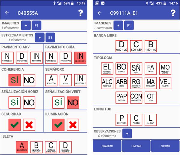 Figura 4. Imágenes de la pantalla de la aplicación de toma de datos que recogen datos en cruces por los códigos que empiezan por C en la identificación.