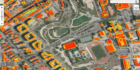 Visor del potencial solar fotovoltaico de las cubiertas de la ciudad de Cáceres