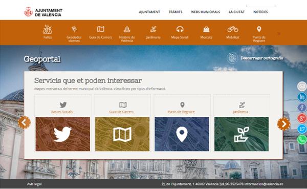 Figura 1. Geoportal interno de Ayuntamiento Valencia.