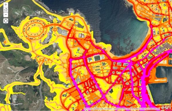 Figura 3. Mapa de ruidos de Ayuntamiento de A Coruña, generado con la tecnología GIS del consistorio.