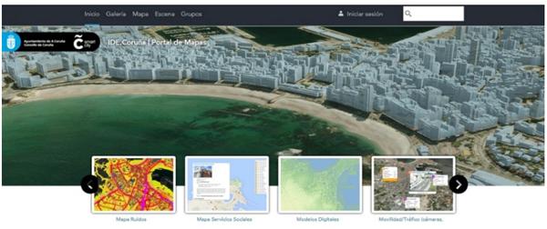 Figura 5. Componente Geoespacial de la Smart City del Ayuntamiento de A Coruña.