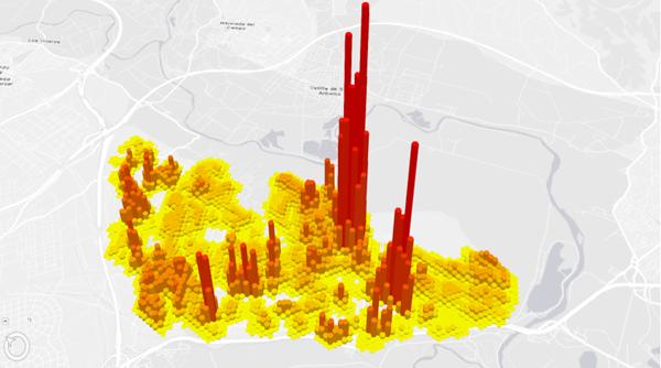 Figura 6. Mapa 3D de recaudación del Ayuntamiento de Rivas Vaciamadrid, permite obtener una visión coherente de la relación entre los impuestos recaudados y los servicios que recibe.
