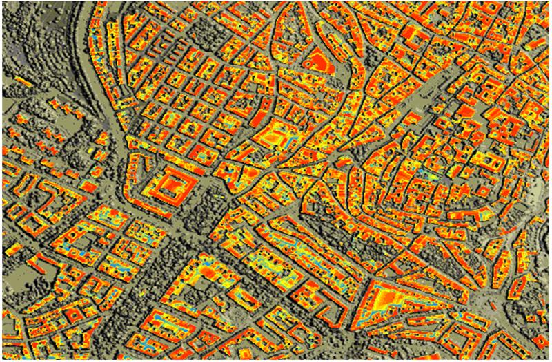 Figura 6. Potencial solar fotovoltaico de las cubiertas sobre datos LIDAR.